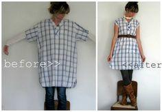 a man's XL night shirt to cute lightweight dress or long shirt...perfect with leggings :)