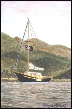 Teresa Kasner's - A R T - G A L L E R Y - Corbett, Oregon Sailing Ships, Hearts, Boat, Crochet Granny, Boats, Crochet Stitches, Heart