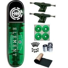 Element Keep California 7.75 Green Skateboard Complete by element. $72.99. 2 - Frontage Trucks. 1 set - Skateboard Hardware & 1 - Black Randel Grip Tape. 4 - Yellow Jacket Blank Wheels 53mm. 8 - Abec 3 Bearings. Brand New Element Skateboard Complete 7.75 x 31.5. Top Quality, Brand New Element Skateboard Complete