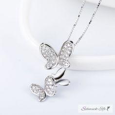 Anhänger Schmetterlings Tanz 925 Silber mit Zirkonias inkl. Gl