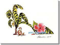 Shoe Print SHIPS FREE   Monkey Zebra Banana by brownleeartstudio