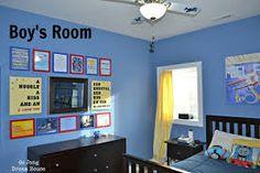 blue wall + green curtain + wood furniture - Google Search