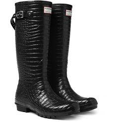 Hunter x Jimmy Choo Crocodile Embossed Wellington Boots http://www.hommestyler.com/2012/01/how-to-wear-wellington-boots-mens-fashion-blog/
