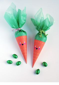 Un Mundo de Manualidades: Coquetos dulceros de zanahorias - Manualidades para Fiestas