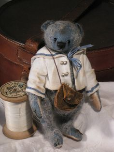 Miniature Mohair Artist Bear OOAK Little Blue 5