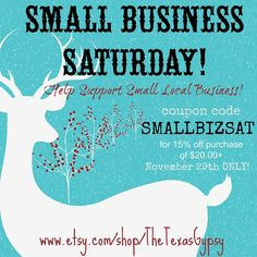 Small Business Saturday - yea it's comin your way! Don't walk, don't mosey on over to my shop - you better run to get in on this deal! It's 15% off of your order of $20 or more!  I sell a wide variety of soaps, lotion bars, men's line of mustcahe wax/beard oils, hand turned shaving brushes, & more!   https://www.etsy.com/your/listings/206288381?ref=listing_card_body&from_page=/your/listings  https://www.etsy.com/your/listings/114226481?ref=listing_card_body&from_page=/your/listings