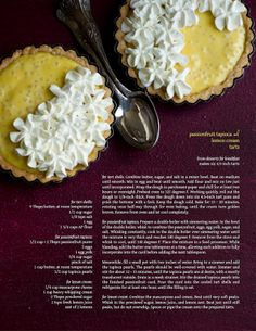 passionfruit tapioca lemon cream tarts