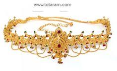 22K Gold 'PEACOCK' Vaddanam: Totaram Jewelers: Buy Indian Gold jewelry & 18K Diamond jewelry