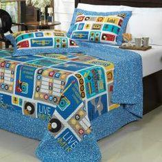 Kit: 1 Cobre-leito Solteiro Kids Bouti de Microfibra PatchWork Ultrasonic + 1 Porta-travesseiro - Disco Azul - Dui Design