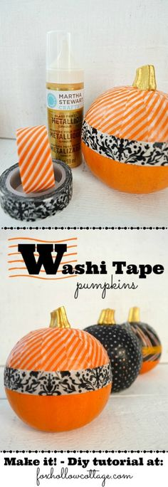 Super easy No-Carve Washi Tape Pumpkins with Gold Metallic Stems