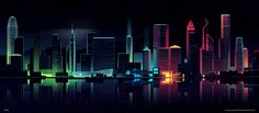 City by night illustration by Romain Trystram
