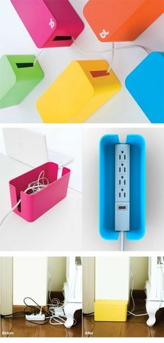 CableBox is a cable organizer that hides messy, loose, tangled cables under the desk, next to the computer, or behind the TV. CableBox works with both wide and long surge protectors. Do It Yourself Organization, Storage Organization, Cable Box, Cable Hider, Cord Hider, Cable Storage, Ideas Para Organizar, Ideias Diy, Ideas Geniales