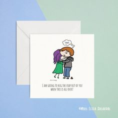 """""""I'm going to hug the crap out of you when this is all over"""" card  A cute card to tell someone you mids them, especially during this time of isolation and social distancing. An illustration of two people hugging. One may have been squeezed a wee bit too tight! Oops! Poops!  Designed, created and printed by me in Sligo Ireland.    Stay safe, Stay home!"""