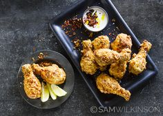 Food Photography Korean Fried Chicken with spicy buttermilk dipping sauce