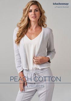 Unser innovatives und leichtes Garn mit einem Touch wie Pfirsichhaut! Die Mischung aus Baumwolle und Hochbauschacryl verleiht Peach Cotton in einem aufwendigen Verfahren den trendigen, veloursartigen Griff mit Micro-Textur. Wir lieben softe und leichte Sommerprojekte mit innovativen Ton-in-Ton Mustern.  #stricken #anleitungen #schachenmayr #booklet #proud2craft Booklet, Mantel, Peach, Shirts, Tops, Sweaters, Cotton, Projects, Women