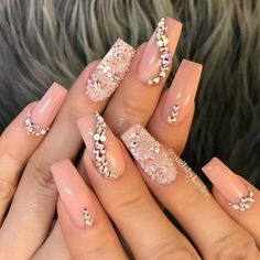 Nail art Christmas - the festive spirit on the nails. Over 70 creative ideas and tutorials - My Nails Silver Nails, Rhinestone Nails, Bling Nails, Bling Nail Art, Rhinestone Nail Designs, Bling Wedding Nails, Brown Nails, Cute Acrylic Nails, Acrylic Nail Designs