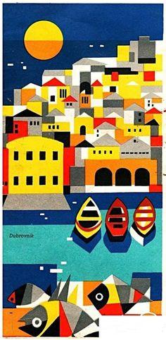 Dubrovnik • Yugoslavia 1961 (Now Croatia) _________________________ #Vintage #Travel #Poster