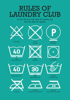 Kitchen Laundry Club Poster Art with laundry symbols explained Mid Century Modern decor Poster Art Kitchen art wall in teal - A3 size print. $23.00, via Etsy.