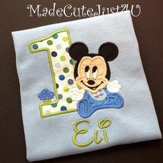 Baby Mickey Personalized Birthday Number Shirt. $20.00, via Etsy.