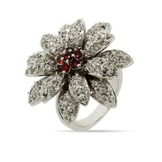 Dazzling Double CZ Flower Cocktail Ring $38