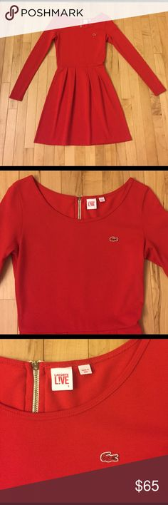 """Lacoste LIVE Red Dress Size S This is Lacoste LIVE red dress size S in a stretch pique knit. This dress is an a-line fit with pleats and in excellent pre-owned condition. Measurements: Bust: 30""""; Length 33"""". Lacoste Dresses Mini"""