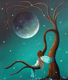 Moon painting and teal colored sky, girl on a tree branch by Shawna Erback Art And Illustration, Fairy Pictures, Angel Art, Fairy Art, Moon Art, Whimsical Art, Art Paintings, Cute Art, Fantasy Art