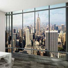 New York Skyline Window Wall Mural