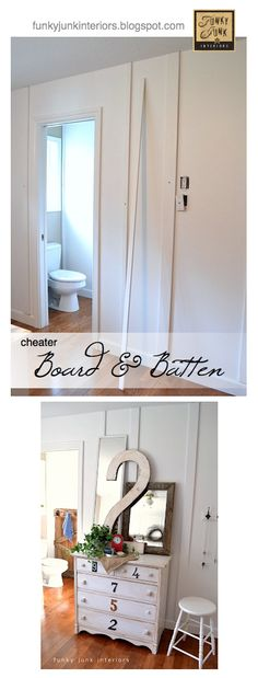 A cheater easy to  install / easy to remove BOARD AND BATTEN wall treatment anyone can do! via @Donna - Funky Junk Interiors