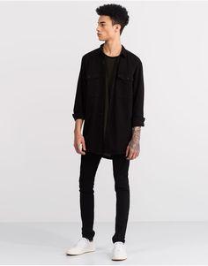 Pull&Bear - hombre - novedades - sobre camisa manga larga - negro - 05470551-V2016