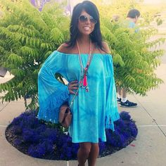 Boho FESTIVAL Off Shoulder Bell Sleeve Fringe Trim Dress Aqua Blue Tie Dye XS-L #PinkUSA #Tunic #SummerBeach