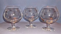 Vintage Brandy Snifters(3) - Star Dust Pattern C G Quartex Crystal -Discontinued