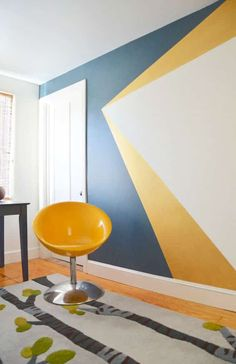 Check out these really cool geometric design ideas for painting the walls in a boy bedroom! Make a small room look bigger with a funky accent wall. There's lots of paint design inspiration to make your boy's bedroom unique and fresh. You can use bright bold colors or soft muted tones and even paint mountains. Many of these ideas have a tutorial attached, but all you really need is some painters masking tape and patience! Boys Bedroom Paint, Kids Room Paint, Bedroom Paint Colors, Room Kids, Paint For Walls, Bedroom Wall Designs, Accent Wall Bedroom, Geometric Wall Paint, Yellow Accent Walls