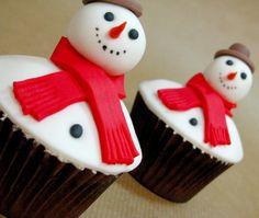 Cupcakes muñeco de nieve