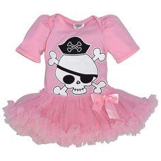 Unique Baby Girls Halloween Skull and Bones Bodysuit with Tutu