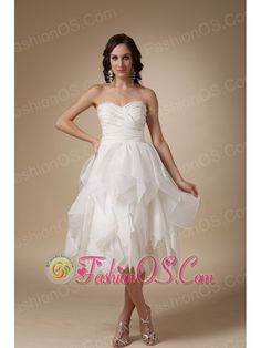 Unique A-line Sweetheart Tea-length Beading Taffeta and Organza Wedding Dress-   http://www.fashionos.com   | zipper up back prom dress | cheap prom dress under 150 | free shipping all over the world | beaded floor length prom dress | 2013 popular prom dress for cocktail | strapless evening dress | perfect evening dress | a dress of elegance for your prom | flowing dancing dress |