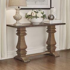 Antigo slate top sofa table by ashley signature design house signal hills voyager wood and zinc balustrade console sofa table watchthetrailerfo