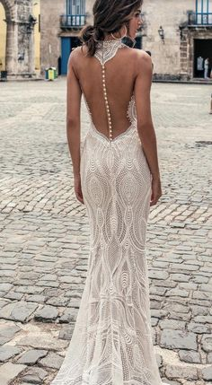 "Julie Vino Fall 2018 Wedding Dresses — ""Havana"" Bridal Collection julie vino fall 2018 havana sleeveless halter jewel neck deep plunging sweetheart neck full embellishment elegant sexy fit and flare sheath wedding dress shear button back sweep train bv Open Back Wedding Dress, Perfect Wedding Dress, Fitted Lace Wedding Dress, Embelished Wedding Dress, Detailed Back Wedding Dress, Pirate Wedding Dress, Wedding Dress Buttons, Wedding Dresses 2018, Sheath Wedding Dresses"