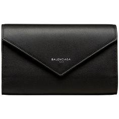 Balenciaga Papier Money Zip Around ($565) ❤ liked on Polyvore featuring bags, wallets, black, balenciaga bag, balenciaga, long bag, zip-around wallet and flap wallet