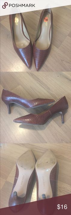 Nine West heels Fun heels by Nine West. Pointed toe with a 3 inch heel. Beautiful condition with minor flaws. Scratching on the left heel and discoloration and a small puncture on the bottom of the shoes. Size 9 1/2. Nine West Shoes Heels