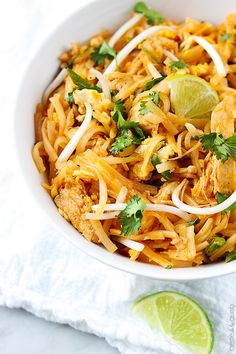 Chicken Pad Thai - was really easy to follow, and the sauce ended up being tasty. smells so weird before you cook it, but once it's in on your plate.. it smells like pad thai! do not leave out the cilantro!