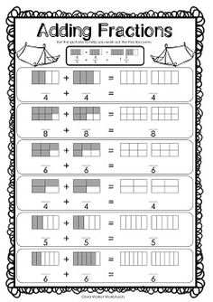 Adding Fractions Same Denominator - Fraction Addition - Worksheets Addition Of Fractions, Add And Subtract Fractions, Adding Fractions, Addition Worksheets, Math Fractions Worksheets, Mental Maths Worksheets, Teaching Fractions, Teaching Math, Homeschooling First Grade
