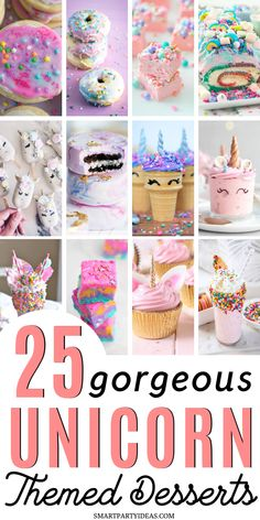 Make your party magical with these easy and delicious unicorn themed desserts. F… Make your party magical with these easy and delicious unicorn themed desserts. From cupcakes to popcorn these desserts are guaranteed to plase a crowd. Mini Desserts, Birthday Desserts, Party Desserts, Delicious Desserts, Birthday Treats, Unicorn Themed Birthday Party, Birthday Party Themes, 7th Birthday, Oreo Dessert
