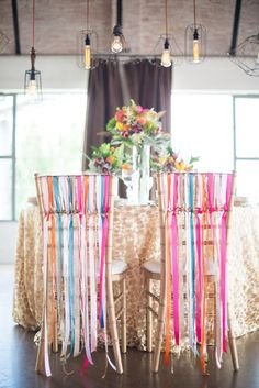 Colorful ribbon detail - Styled by Each & Every Detail, Cottonwood Road Photography, Florals by Pearls & Poppies http://www.theperfectpalette.com/2014/07/styled-shoot-glittery-gold-pretty-pops.html