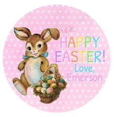 Personalised Gloss Happy Easter Cute Chick Party Bag Labels Egg Hunt stickers