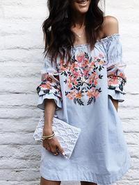 Blue Frill Off Shoulder Floral Dress 5f26a543d
