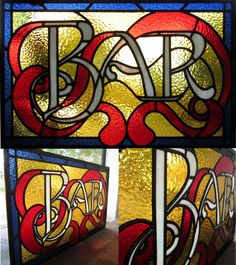 Leadlight/ stained glass bar sign window made by Phoebe Knight for Leadlight Design & Repair - www.leadlightdesign.com