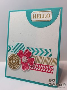 Stampin' Up, Control Freaks July Blog Tour Card 2, Tape It!, Flower Shop, Notable Notions, Six Sided Sampler, Label Something, 2 1/2 Circle Punch, Hexagon Punch, Pansy Punch, 1 1/4 Circle Punch, Basic Jewels Pearls