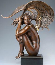 Summer Storm by Michael Parkes - Bronze Sculptures Expos Paris, Art Nouveau Furniture, Architecture Tattoo, Angel Art, Art Deco Design, Funny Art, Graphic, Land Art, Statues