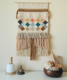 This big wall tapestry is only avaiable by custom order. Handmade in a weaving loom, with love and patience.  Made with 100% natural fibers