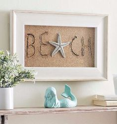 Beach Sand Photo Shadow Box with Sand Writing and Faux Starfish Accent.